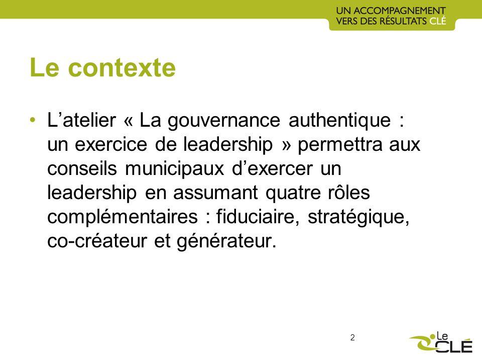 Le contexte Latelier « La gouvernance authentique : un exercice de leadership » permettra aux conseils municipaux dexercer un leadership en assumant quatre rôles complémentaires : fiduciaire, stratégique, co-créateur et générateur.