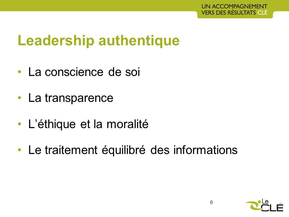 Leadership authentique La conscience de soi La transparence Léthique et la moralité Le traitement équilibré des informations 6