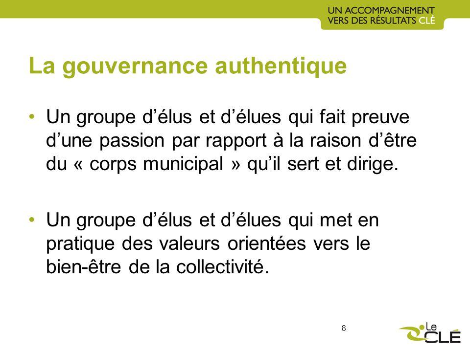 La gouvernance authentique Un groupe délus et délues qui fait preuve dune passion par rapport à la raison dêtre du « corps municipal » quil sert et dirige.
