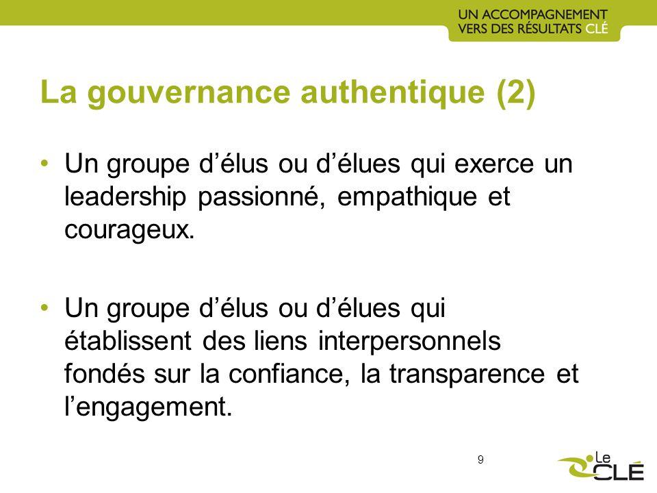 La gouvernance authentique (2) Un groupe délus ou délues qui exerce un leadership passionné, empathique et courageux.