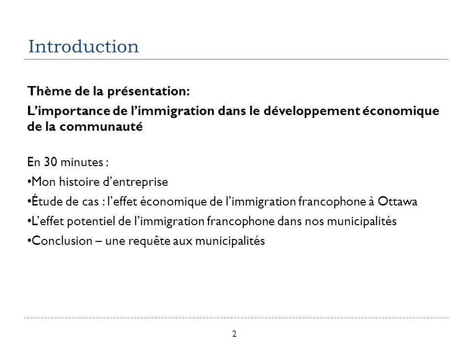 Introduction 2 Thème de la présentation: Limportance de limmigration dans le développement économique de la communauté En 30 minutes : Mon histoire de