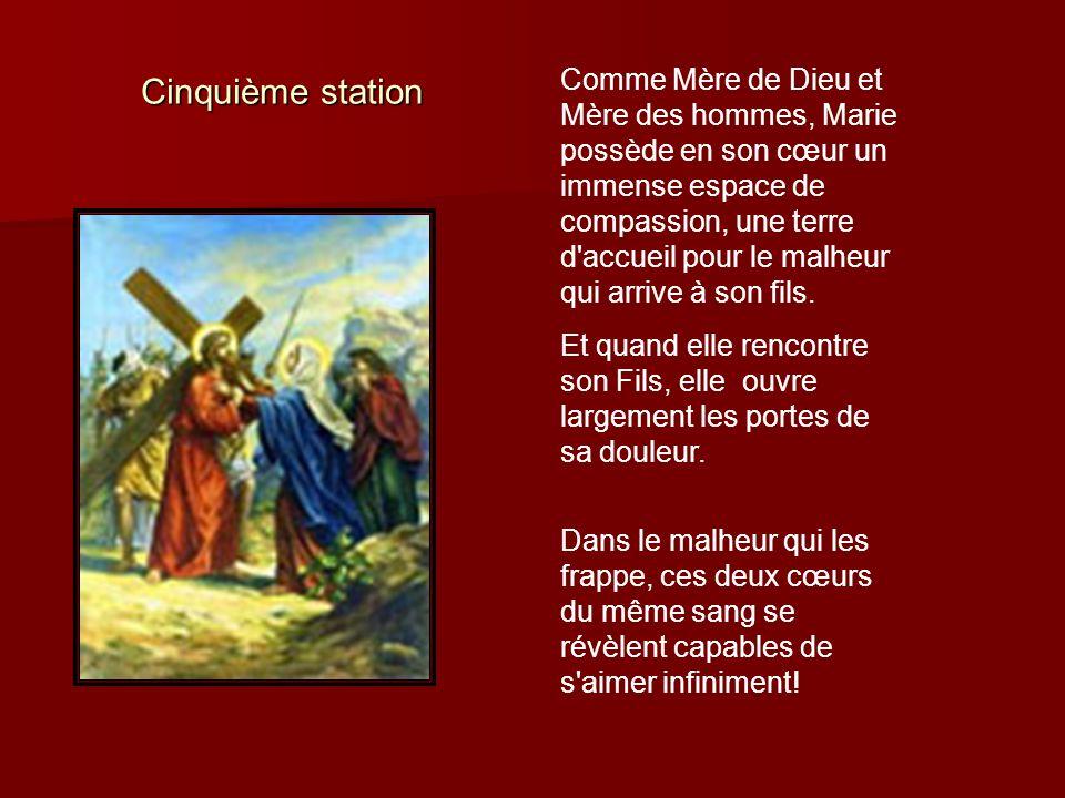 Cinquième station Comme Mère de Dieu et Mère des hommes, Marie possède en son cœur un immense espace de compassion, une terre d'accueil pour le malheu