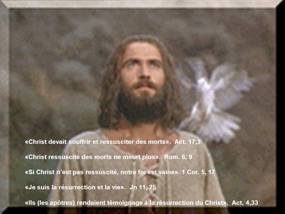 «Christ devait souffrir et ressusciter des morts». Act, 17,3 «Christ ressuscité des morts ne meurt plus». Rom. 6, 9 «Si Christ nest pas ressuscité, no