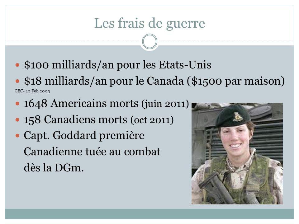 Les frais de guerre $100 milliards/an pour les Etats-Unis $18 milliards/an pour le Canada ($1500 par maison) CBC- 10 Feb 2009 1648 Americains morts (juin 2011) 158 Canadiens morts (oct 2011) Capt.