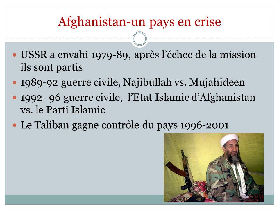 Afghanistan-un pays en crise USSR a envahi 1979-89, après léchec de la mission ils sont partis 1989-92 guerre civile, Najibullah vs. Mujahideen 1992-