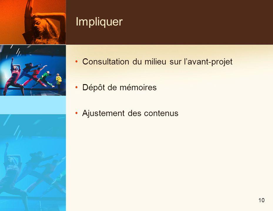 Impliquer Consultation du milieu sur lavant-projet Dépôt de mémoires Ajustement des contenus 10