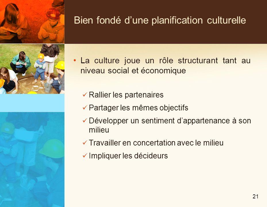 Bien fondé dune planification culturelle La culture joue un rôle structurant tant au niveau social et économique Rallier les partenaires Partager les mêmes objectifs Développer un sentiment dappartenance à son milieu Travailler en concertation avec le milieu Impliquer les décideurs 21