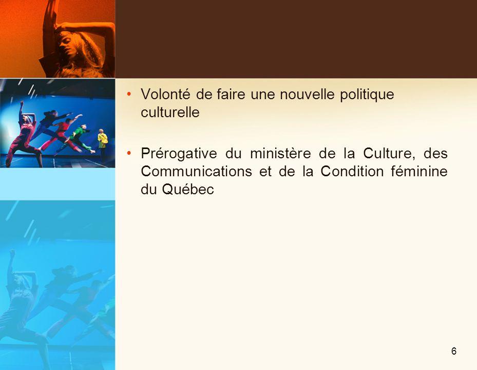Québec horizon culture Nouveau contexte Consolidation de partenariats 4 nouvelles orientations 17