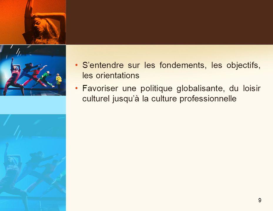 Sentendre sur les fondements, les objectifs, les orientations Favoriser une politique globalisante, du loisir culturel jusquà la culture professionnelle 9