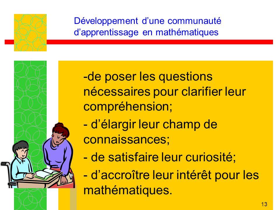 13 Développement dune communauté dapprentissage en mathématiques -de poser les questions nécessaires pour clarifier leur compréhension; - délargir leu