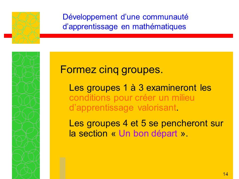 14 Développement dune communauté dapprentissage en mathématiques Les groupes 1 à 3 examineront les conditions pour créer un milieu dapprentissage valo