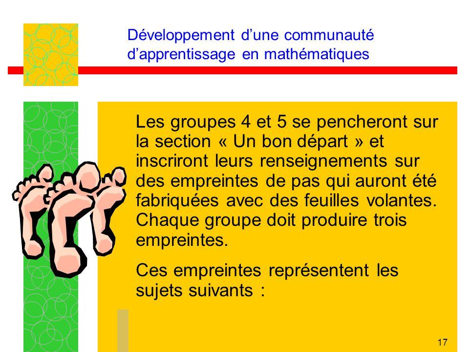 17 Développement dune communauté dapprentissage en mathématiques Les groupes 4 et 5 se pencheront sur la section « Un bon départ » et inscriront leurs