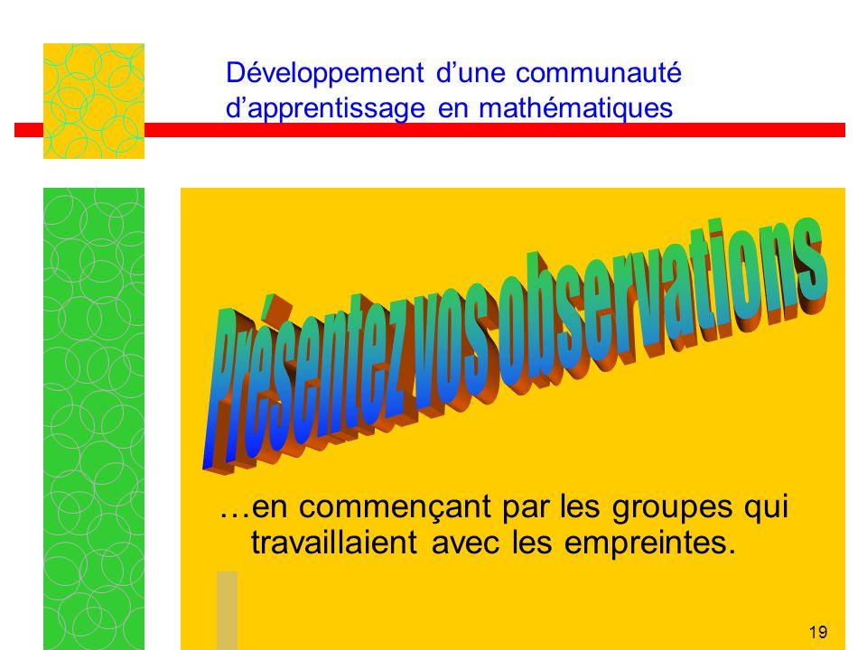 19 Développement dune communauté dapprentissage en mathématiques …en commençant par les groupes qui travaillaient avec les empreintes.