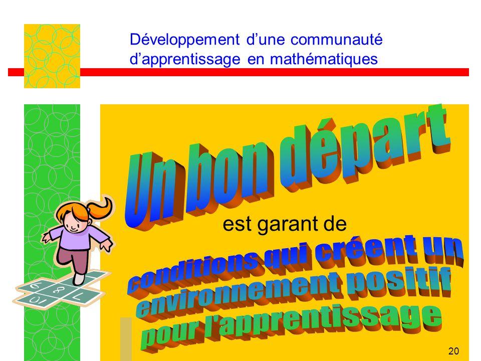 20 Développement dune communauté dapprentissage en mathématiques est garant de
