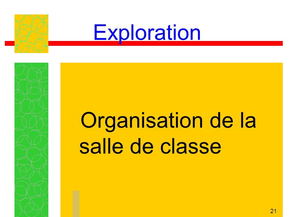 21 Exploration Organisation de la salle de classe