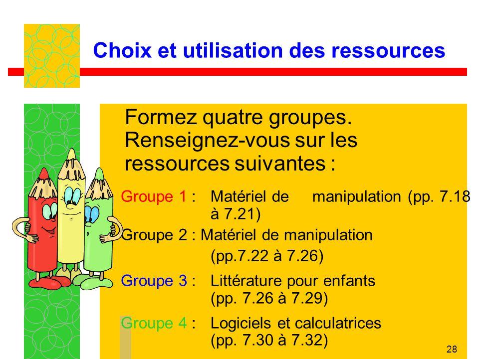 28 Choix et utilisation des ressources Groupe 1 :Matériel de manipulation (pp. 7.18 à 7.21) Groupe 2 : Matériel de manipulation (pp.7.22 à 7.26) Group