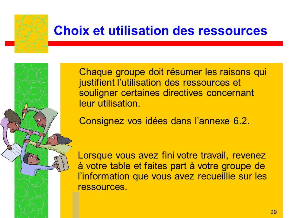 29 Choix et utilisation des ressources Chaque groupe doit résumer les raisons qui justifient lutilisation des ressources et souligner certaines direct