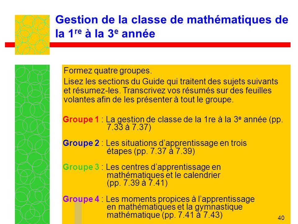 40 Gestion de la classe de mathématiques de la 1 re à la 3 e année Groupe 1 : La gestion de classe de la 1re à la 3 e année (pp. 7.33 à 7.37) Groupe 2
