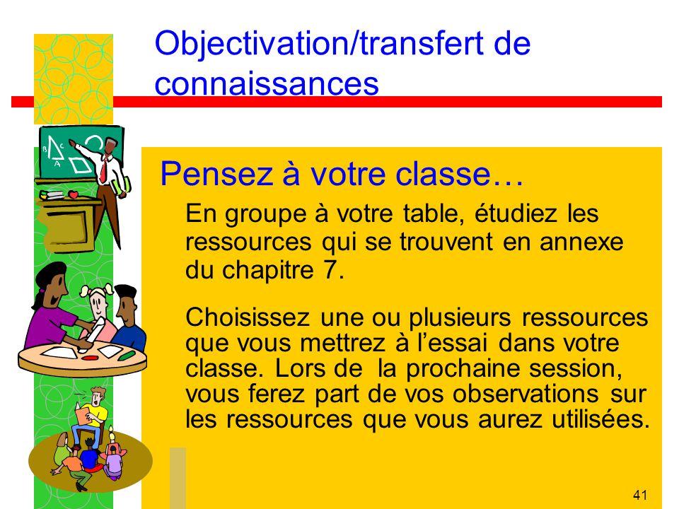 41 Objectivation/transfert de connaissances Pensez à votre classe… En groupe à votre table, étudiez les ressources qui se trouvent en annexe du chapit