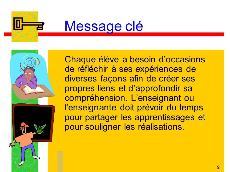 9 Message clé Chaque élève a besoin doccasions de réfléchir à ses expériences de diverses façons afin de créer ses propres liens et dapprofondir sa co