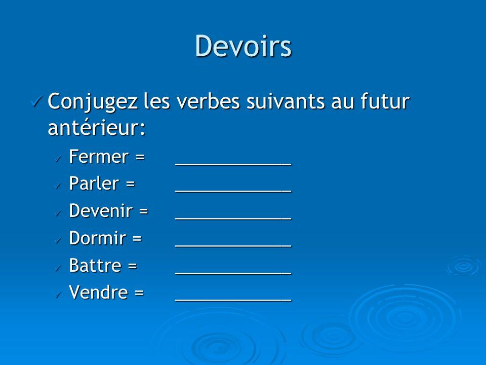 Devoirs Conjugez les verbes suivants au futur antérieur: Conjugez les verbes suivants au futur antérieur: Fermer = ____________ Fermer = ____________ Parler = ____________ Parler = ____________ Devenir = ____________ Devenir = ____________ Dormir = ____________ Dormir = ____________ Battre = ____________ Battre = ____________ Vendre = ____________ Vendre = ____________