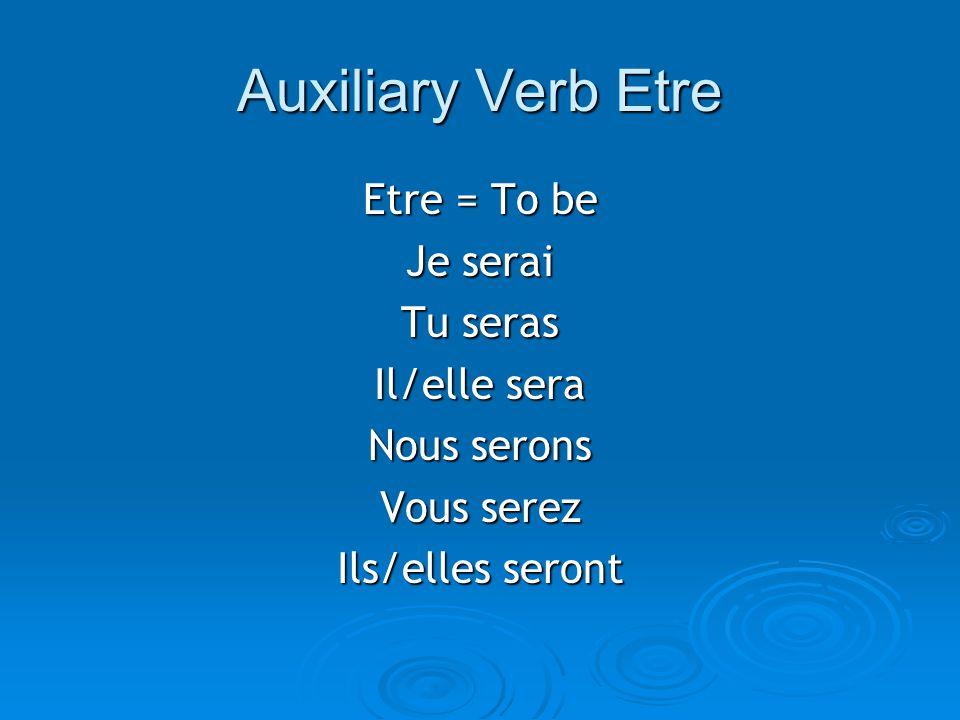 Auxiliary Verb Etre Etre = To be Je serai Tu seras Il/elle sera Nous serons Vous serez Ils/elles seront