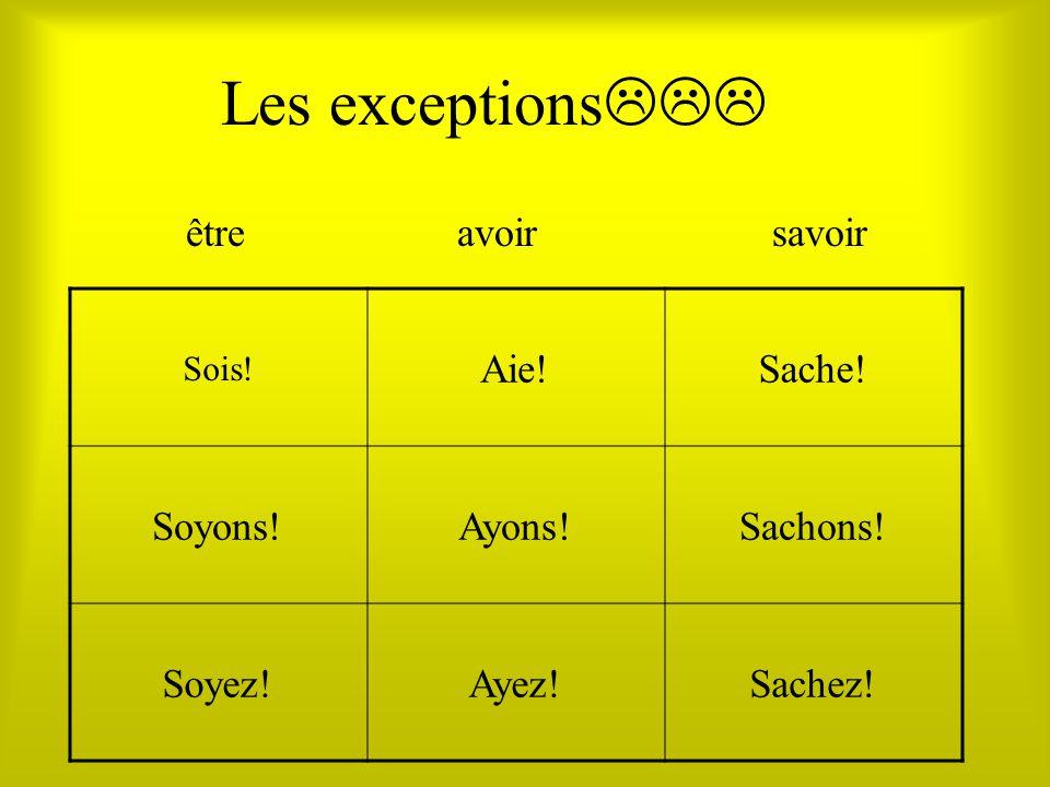 Les exceptions Sois! Aie!Sache! Soyons!Ayons!Sachons! Soyez!Ayez!Sachez! êtreavoirsavoir