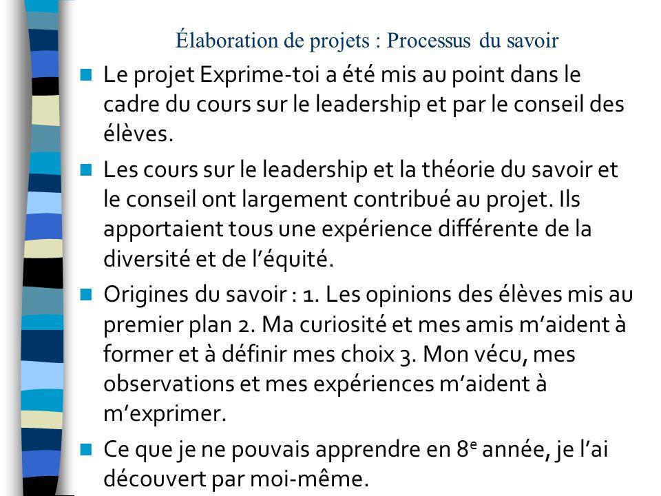 Élaboration de projets : Processus du savoir Le projet Exprime-toi a été mis au point dans le cadre du cours sur le leadership et par le conseil des élèves.