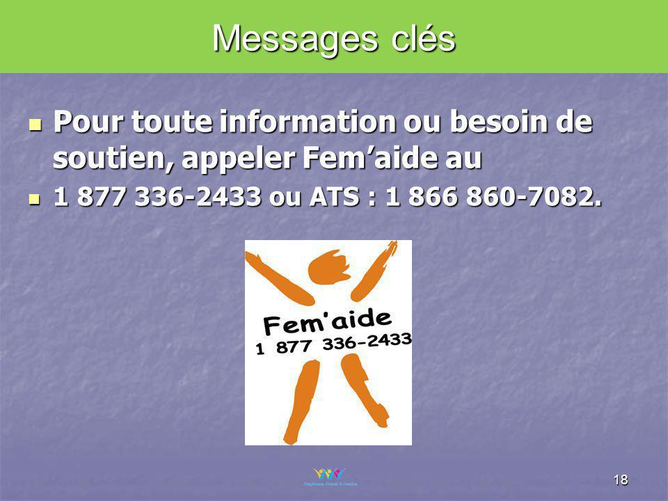 Pour toute information ou besoin de soutien, appeler Femaide au Pour toute information ou besoin de soutien, appeler Femaide au 1 877 336-2433 ou ATS : 1 866 860-7082.