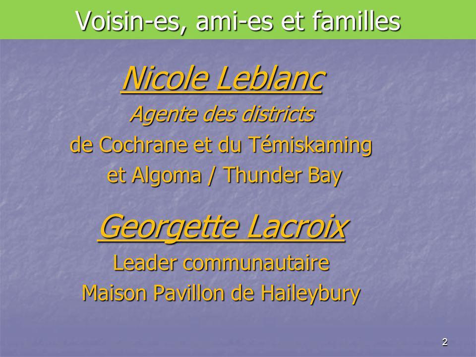 Voisin-es, ami-es et familles Nicole Leblanc Agente des districts de Cochrane et du Témiskaming et Algoma / Thunder Bay et Algoma / Thunder Bay Georgette Lacroix Leader communautaire Maison Pavillon de Haileybury 2