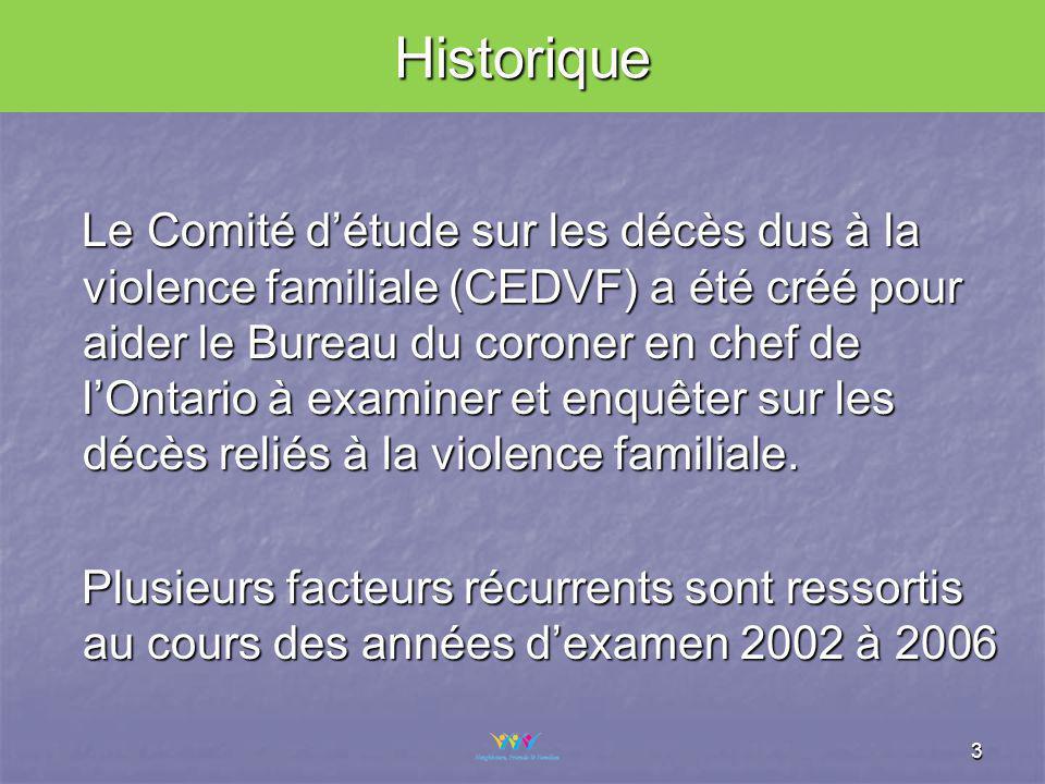3 Le Comité détude sur les décès dus à la violence familiale (CEDVF) a été créé pour aider le Bureau du coroner en chef de lOntario à examiner et enquêter sur les décès reliés à la violence familiale.