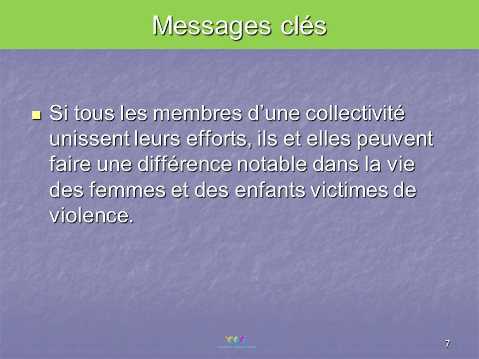 Messages clés Si tous les membres dune collectivité unissent leurs efforts, ils et elles peuvent faire une différence notable dans la vie des femmes et des enfants victimes de violence.