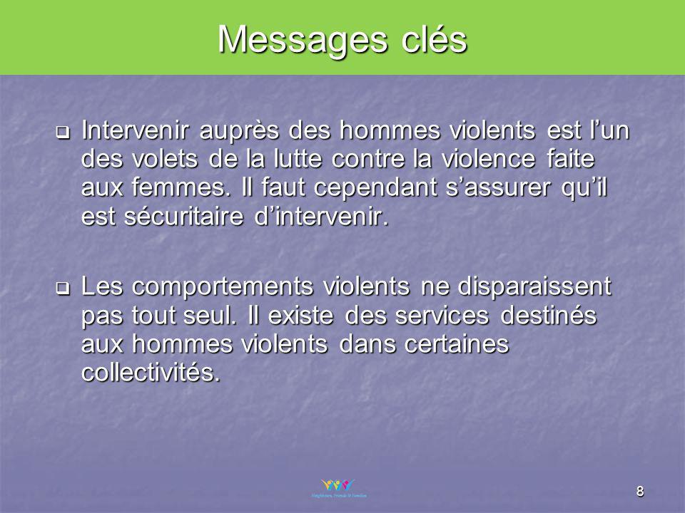 8 Intervenir auprès des hommes violents est lun des volets de la lutte contre la violence faite aux femmes.
