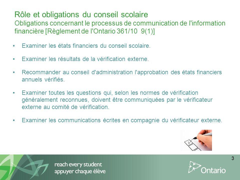 Rôle et obligations du conseil scolaire Obligations concernant le processus de communication de l information financière [Règlement de l Ontario 361/10 9(1)] Examiner les états financiers du conseil scolaire.