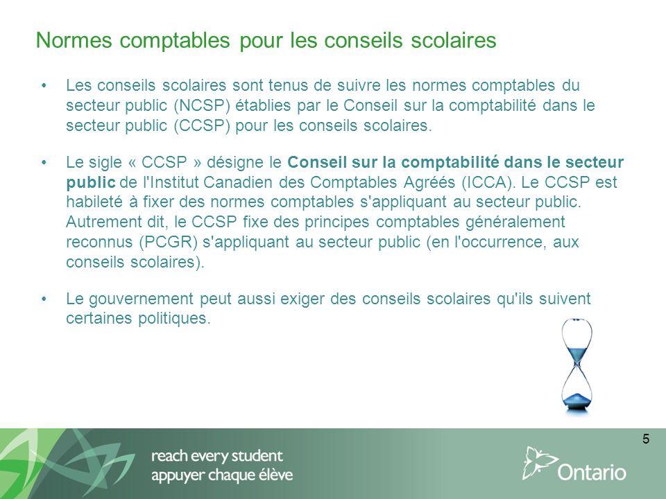 Les conseils scolaires sont tenus de suivre les normes comptables du secteur public (NCSP) établies par le Conseil sur la comptabilité dans le secteur public (CCSP) pour les conseils scolaires.