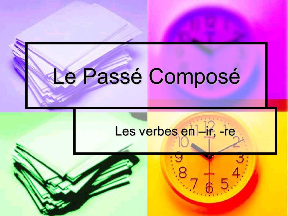 Verbes en -ir Pour former le participe passé des verbes en –ir, il faut enlever le r de linfinitif Pour former le participe passé des verbes en –ir, il faut enlever le r de linfinitif CHOISIR = ________________ CHOISIR = ________________ Quel est le participe passé.