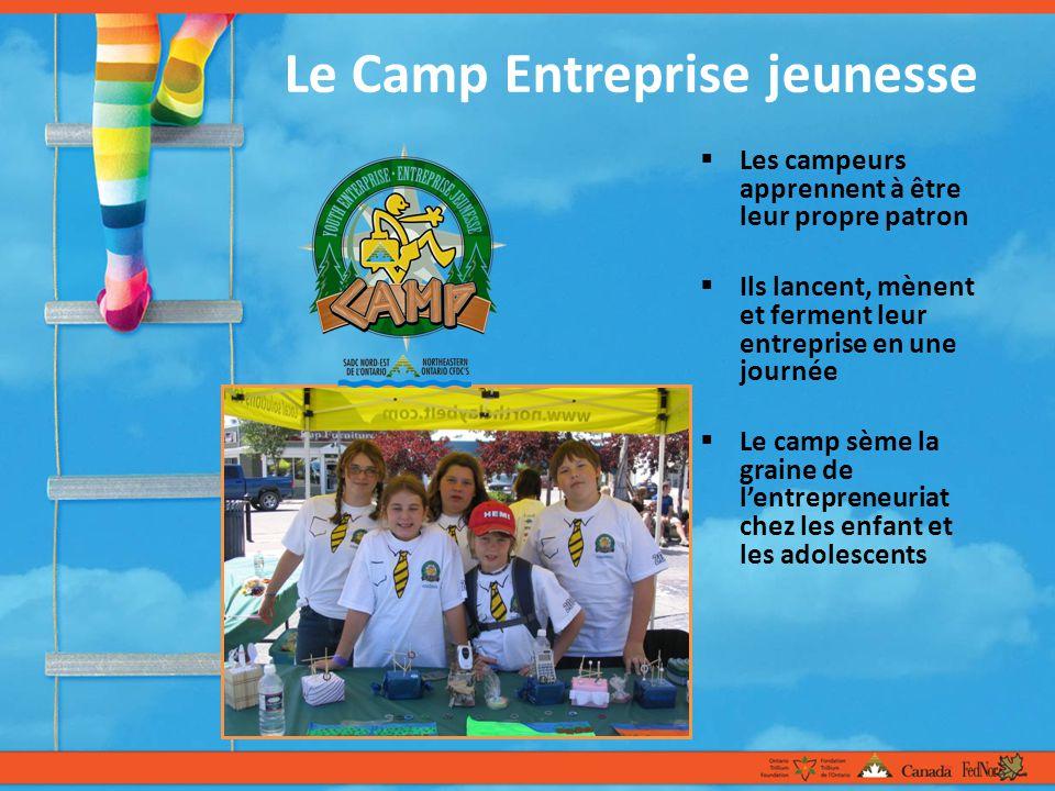 Le Camp Entreprise jeunesse Les campeurs apprennent à être leur propre patron Ils lancent, mènent et ferment leur entreprise en une journée Le camp sème la graine de lentrepreneuriat chez les enfant et les adolescents