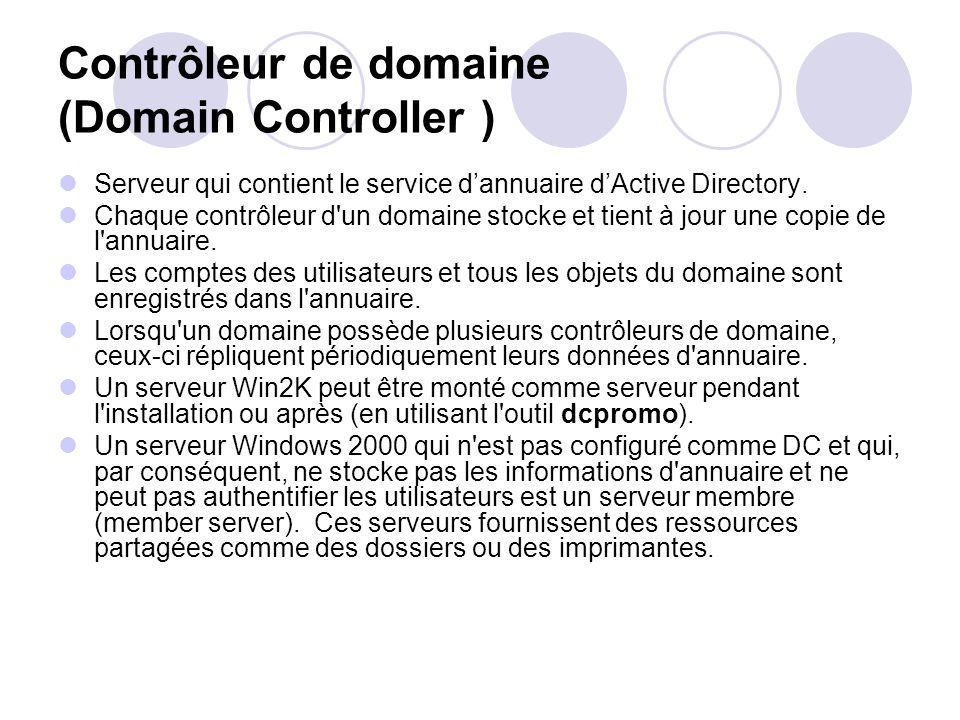 Contrôleur de domaine (Domain Controller ) Serveur qui contient le service dannuaire dActive Directory. Chaque contrôleur d'un domaine stocke et tient