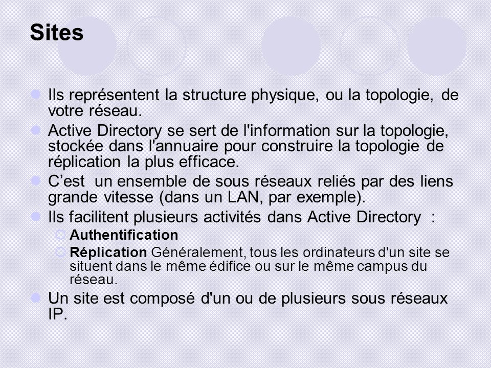 Sites Ils représentent la structure physique, ou la topologie, de votre réseau. Active Directory se sert de l'information sur la topologie, stockée da