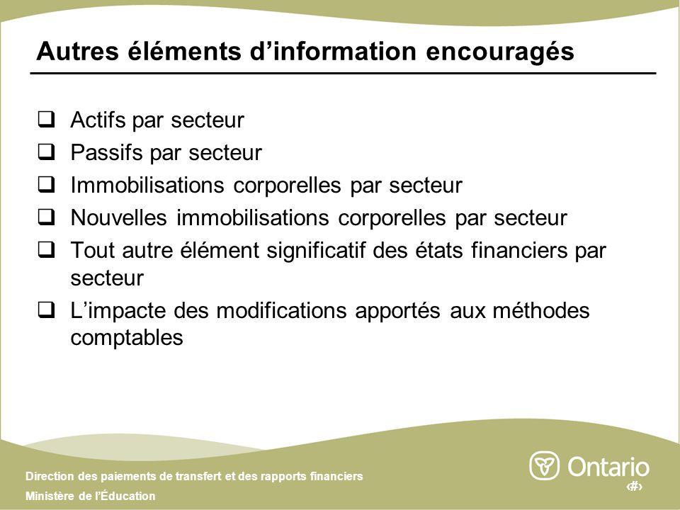 10 Direction des paiements de transfert et des rapports financiers Ministère de lÉducation Questions