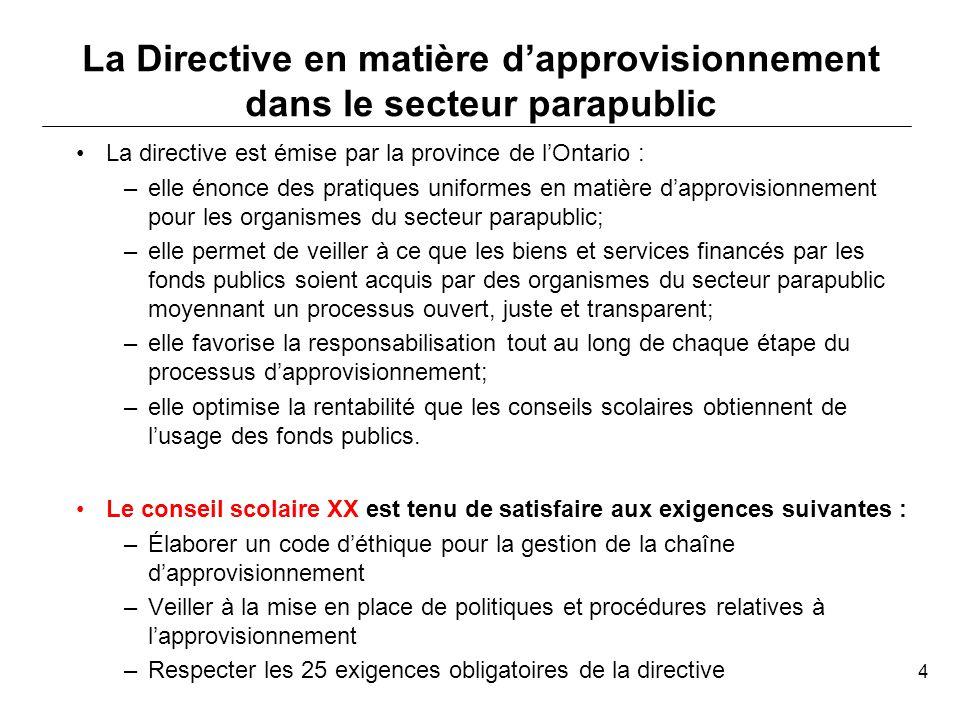 En ce moment, le conseil scolaire XX est conforme à XX exigences obligatoires parmi les 25 qui sont énoncées dans la directive.