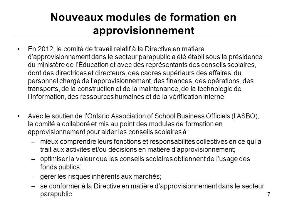 Les modules de formation que nous vous présentons aujourdhui devraient vous aider à répondre aux questions clés suivantes : –Quelle est limportance de la Directive en matière dapprovisionnement dans le secteur parapublic.