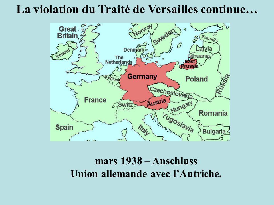 mars 1938 – Anschluss Union allemande avec lAutriche. La violation du Traité de Versailles continue…