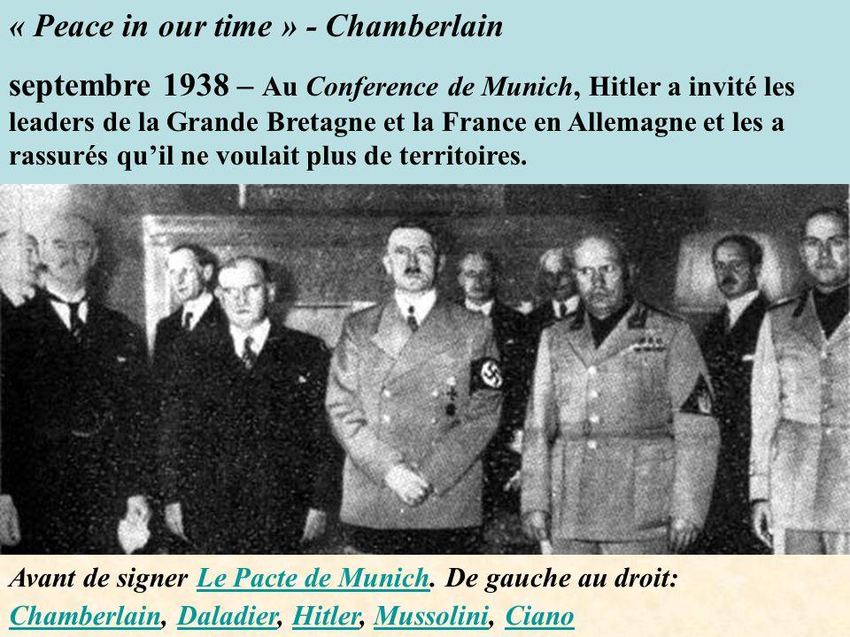 Avant de signer Le Pacte de Munich. De gauche au droit: Chamberlain, Daladier, Hitler, Mussolini, CianoLe Pacte de Munich ChamberlainDaladierHitlerMus