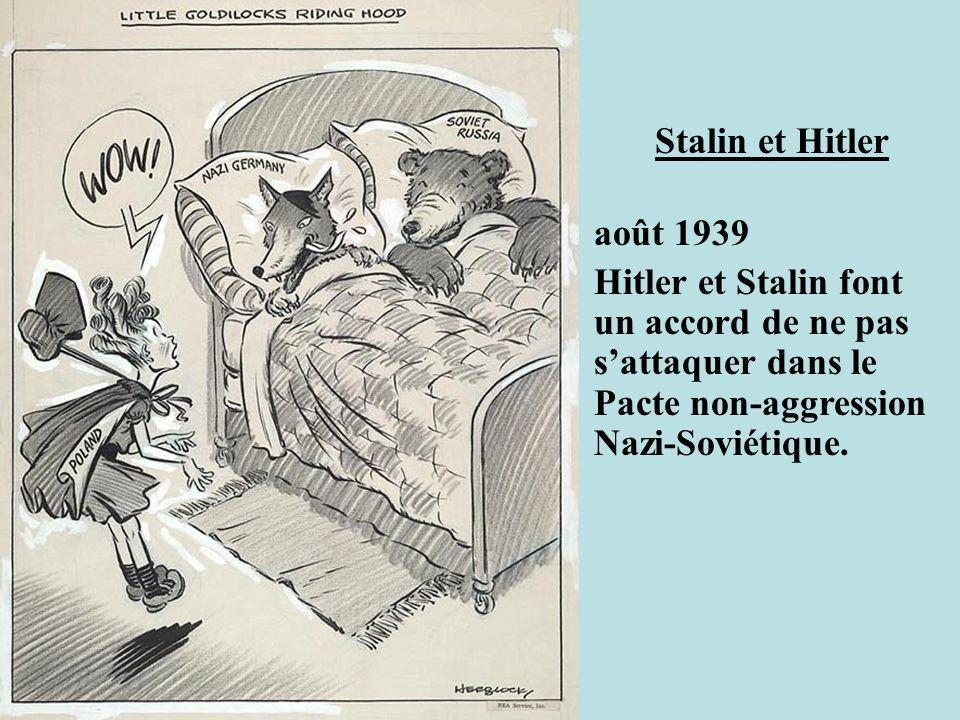 Stalin et Hitler août 1939 Hitler et Stalin font un accord de ne pas sattaquer dans le Pacte non-aggression Nazi-Soviétique.