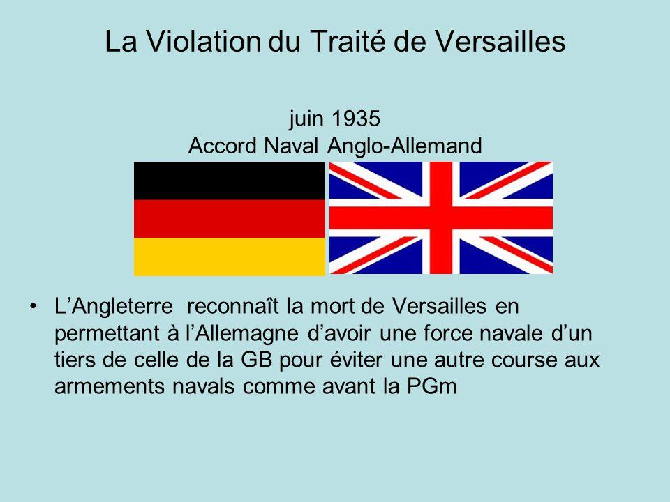 La Violation du Traité de Versailles juin 1935 Accord Naval Anglo-Allemand LAngleterre reconnaît la mort de Versailles en permettant à lAllemagne davo