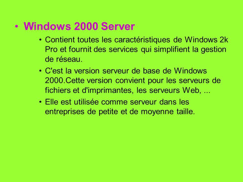 Windows 2000 Server Contient toutes les caractéristiques de Windows 2k Pro et fournit des services qui simplifient la gestion de réseau.