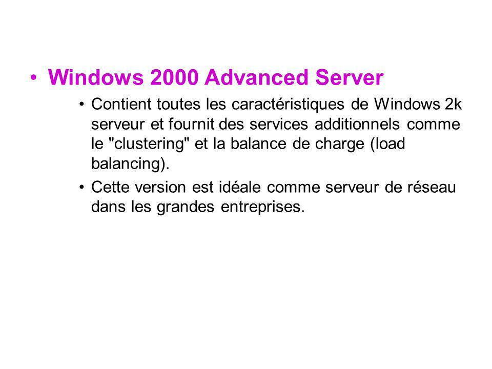 Windows 2000 Advanced Server Contient toutes les caractéristiques de Windows 2k serveur et fournit des services additionnels comme le clustering et la balance de charge (load balancing).