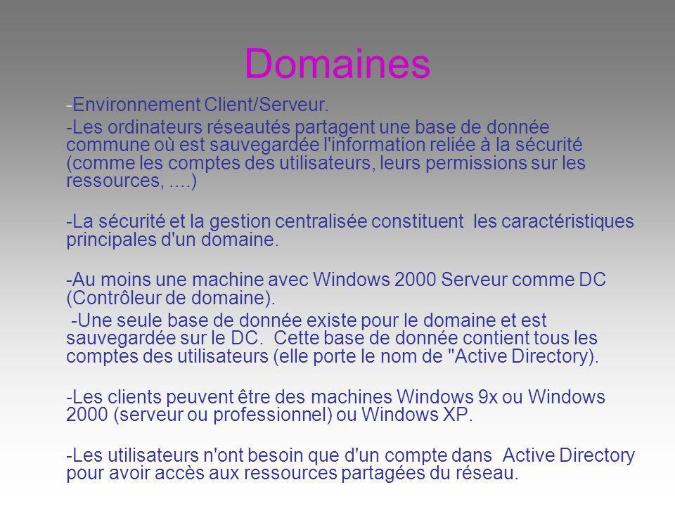 Domaines -Environnement Client/Serveur.