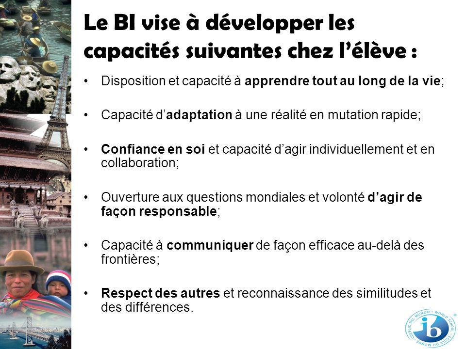 Le BI vise à développer les capacités suivantes chez lélève : Disposition et capacité à apprendre tout au long de la vie; Capacité dadaptation à une r